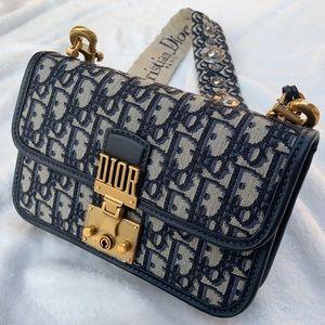 Dior DiorAddict Oblique Flap Bag in blue